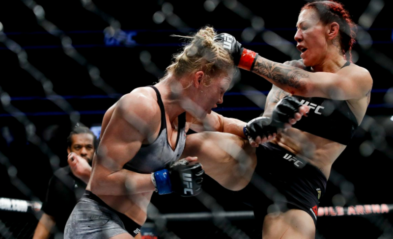 Cris Cyborg kicks Holly Holm at UFC 219