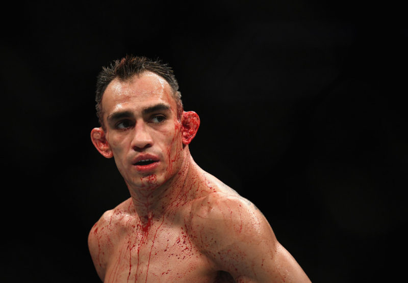 Tony Ferguson looks on while competing against Anthony Pettis at UFC 229